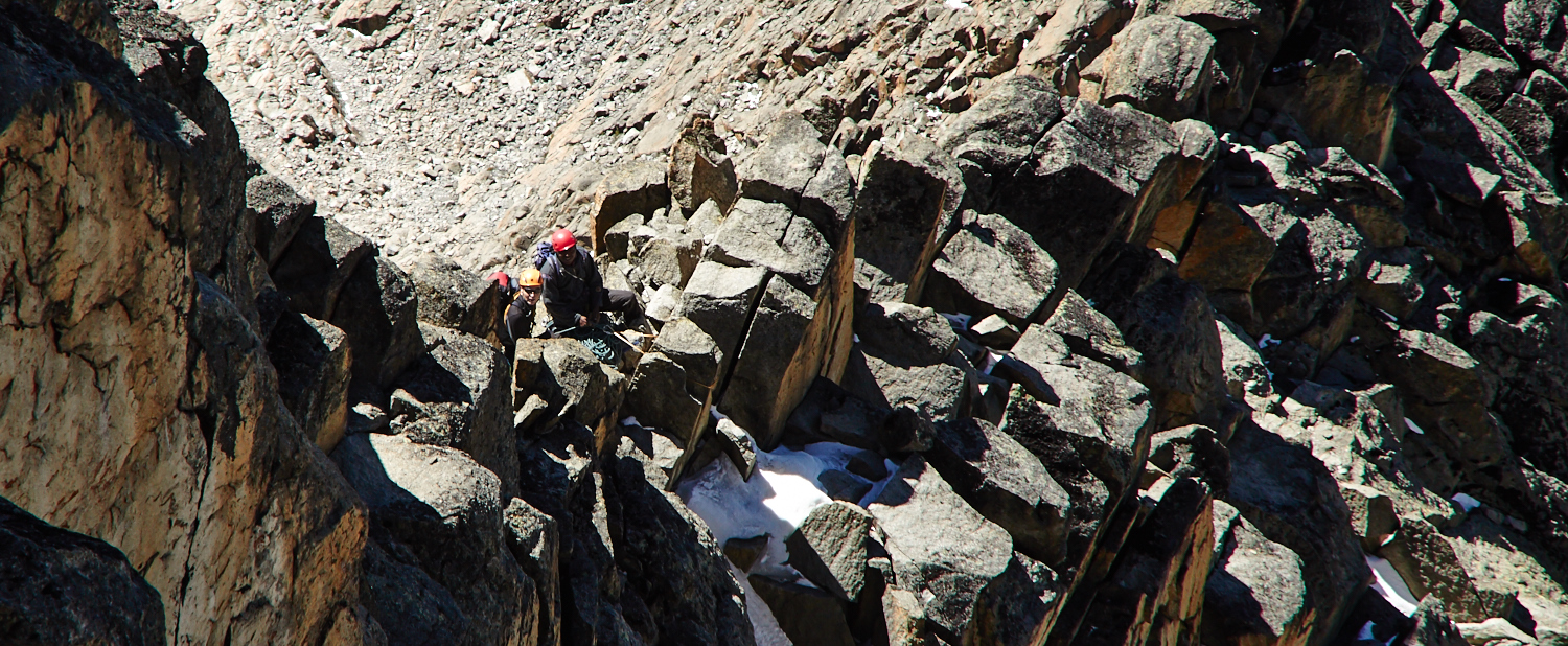 Team of climbers on the normal route to Nelion, Moun Kenya. Summit Climb Mount Kenya.