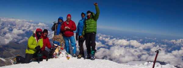 Elbrus trekking: Ascent with easy glacier climb, Felix Berg and members on top of Europe.