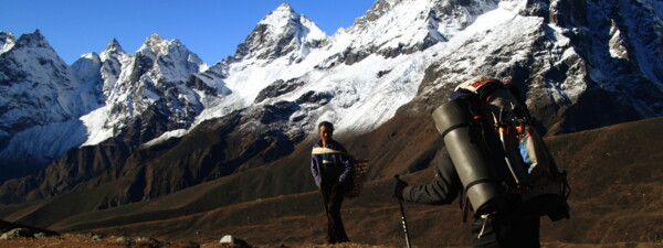 Discover Nepal: Robert Steiner and a Sherpa in the Khumbu area, Nepal Trek.