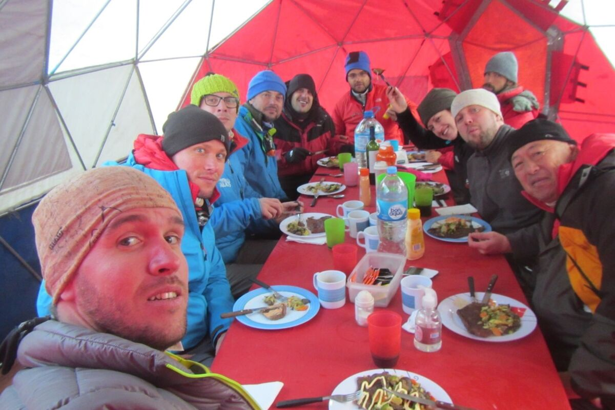 SummitClimb Team having lunch in our basecamp tent. Aconcagua.