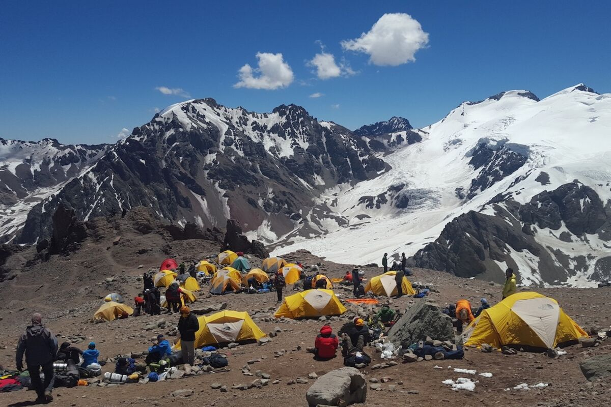 Tents on Aconcagua. Setting up camp.