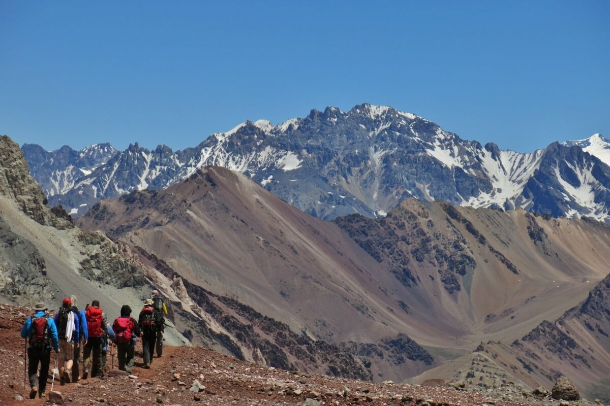 Aconcagua Expedition. Climbers descending from Aconcagua Summit.