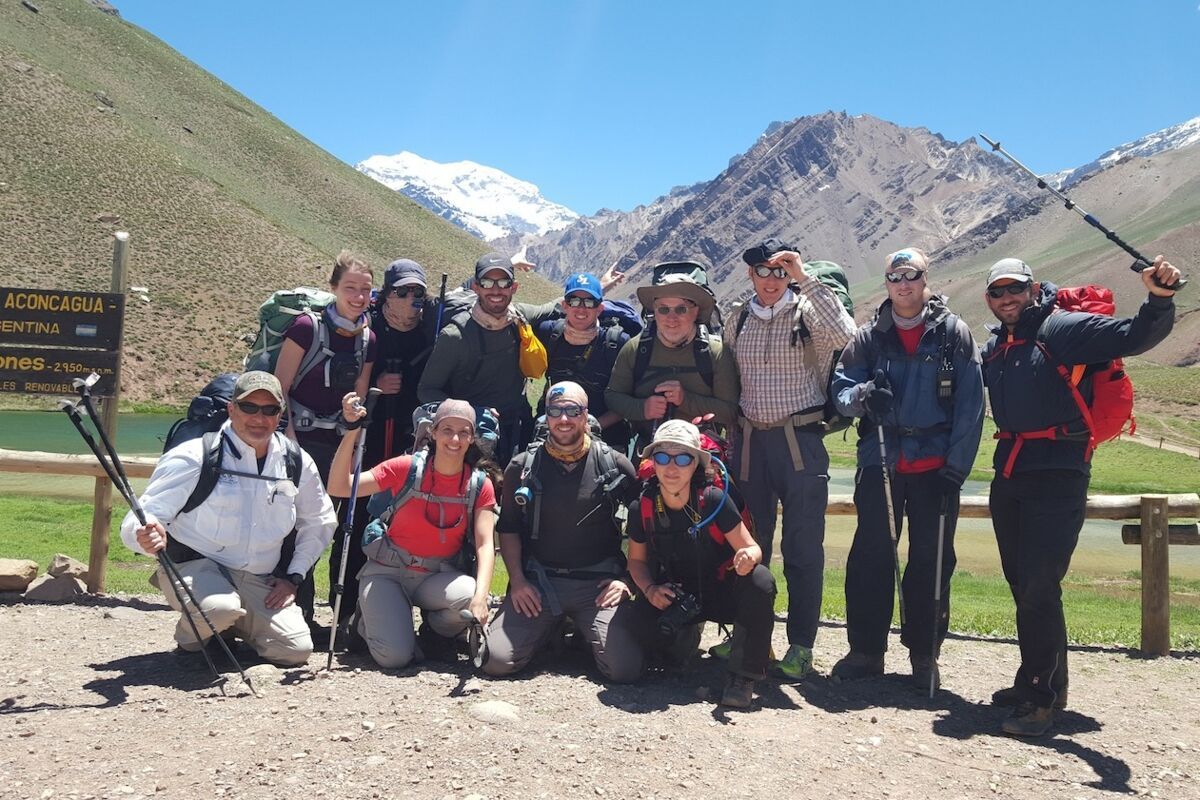 Aconcagua Expedition. Climbers on the way to summit Aconcagua. Aconcagua Gate.