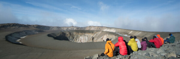 Kilimanjaro Summit - Members on the Top, view over Reusch Crator.