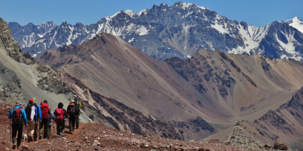 Aconcagua Trekking: An not so easy hike, expedition to the top of South America, team approaches base camp.