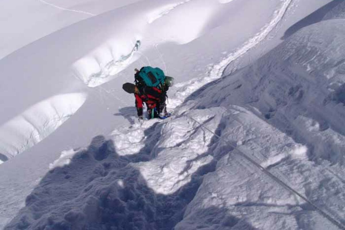 Eisklettern, Steilstufe am Cho Oyu - Expedition in Tibet