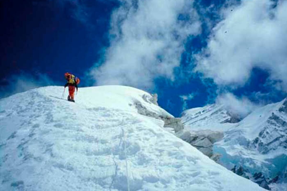 Bergsteiger am Cho Oyu beim Summit-Push