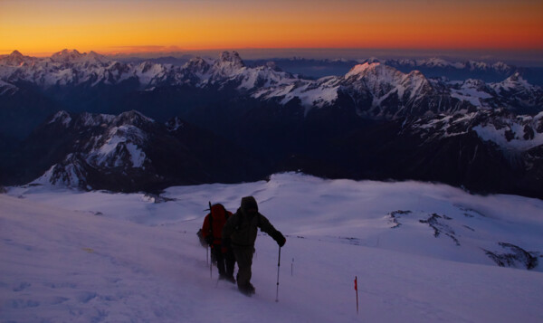 Elbrus climb. Sunrise and the view on Caucasus.